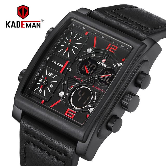 ba24a6841f7 KADEMAN cuadrado de lujo reloj de los hombres de doble pantalla Digital  Relojes Hombre Deporte Militar
