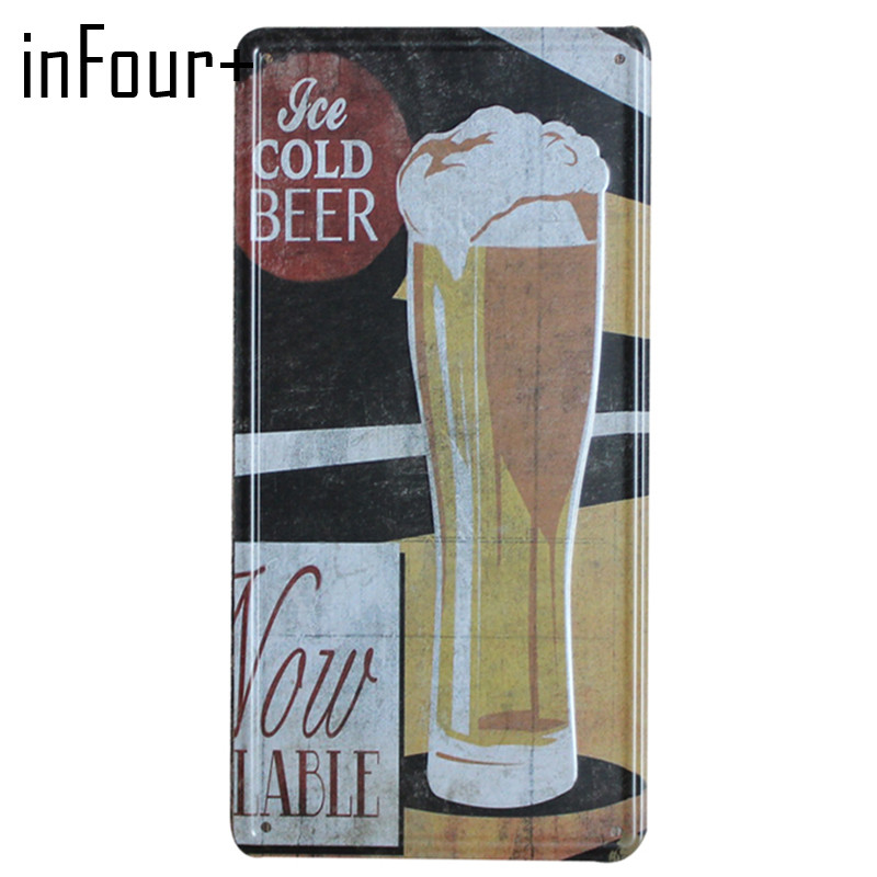 [inFour+] New Cold Beer Plate Metal Plate Car Number Tin Sign Bar Pub Cafe Home Decor Metal Sign Garage Painting Plaques Sign
