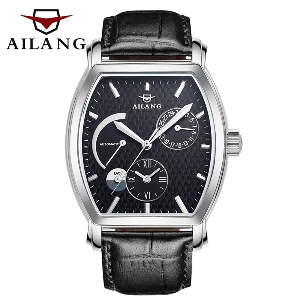 AILANG time vintage reloj brand diver watch adopt swiss gear diesel sport luxury men's leather belt automatic sport black watch top brand diesel watch swiss gear auto men s wrist watch swiss military diver reloj leather belt automatic winding bracelet
