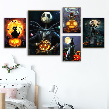 HUACAN 5D DIY Diamond Painting Halloween Full Square Rhinestone Diamond Embroidery Cross Stitch Mosaic Cartoon