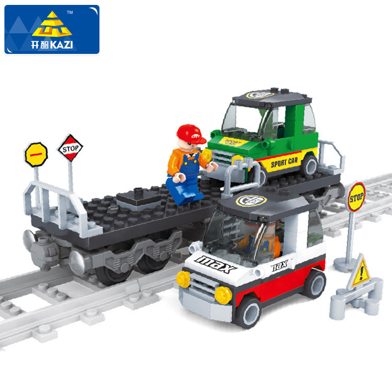 Track Train Building Block Set Educational DIY Construction Bricks Toys For Children enlighten Juguetes Christmas Gift