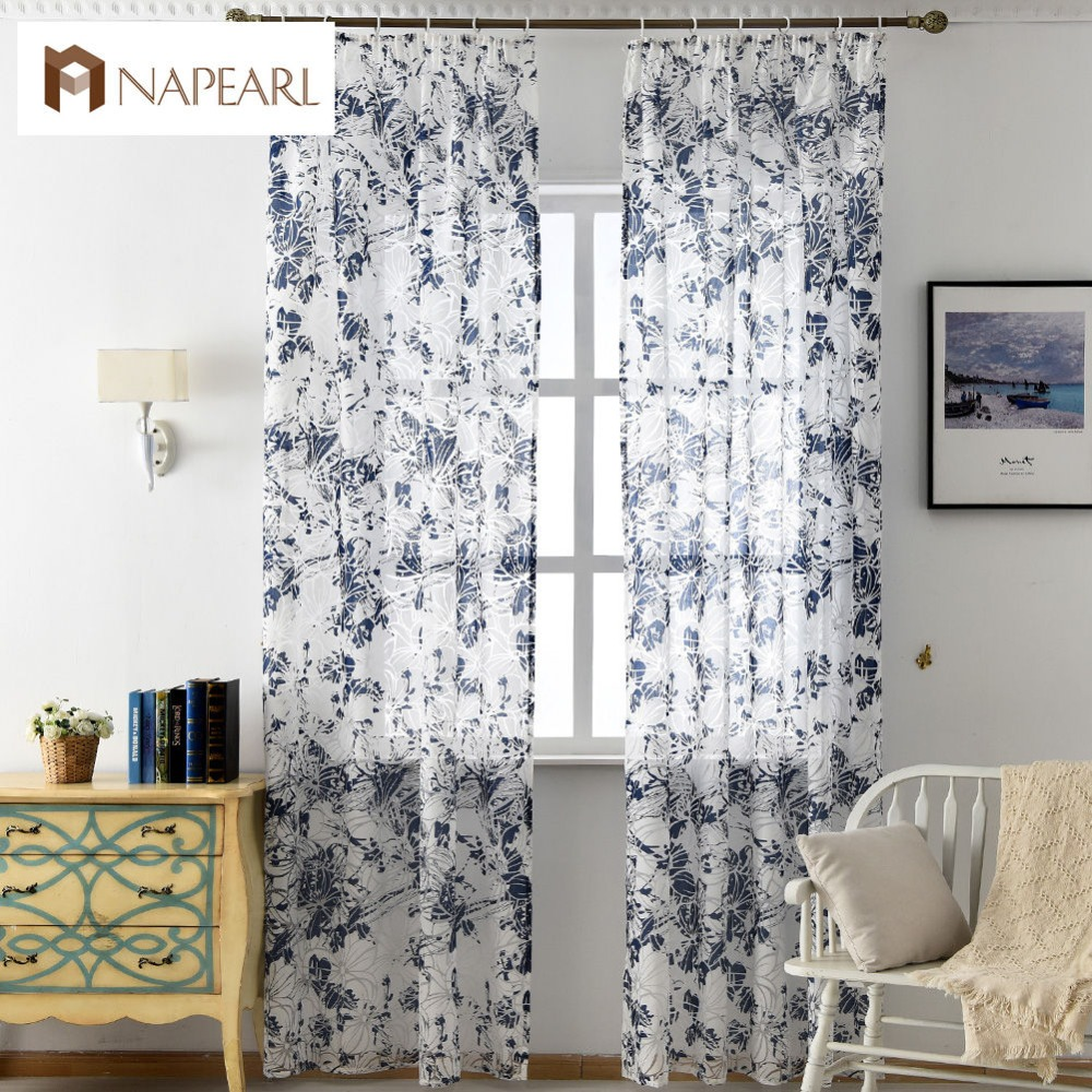 Floral Tulle Curtains Modern Window Treatments Blue Pink Sheer Fabrics  Ready Made Girl Bedroom Short Curtains
