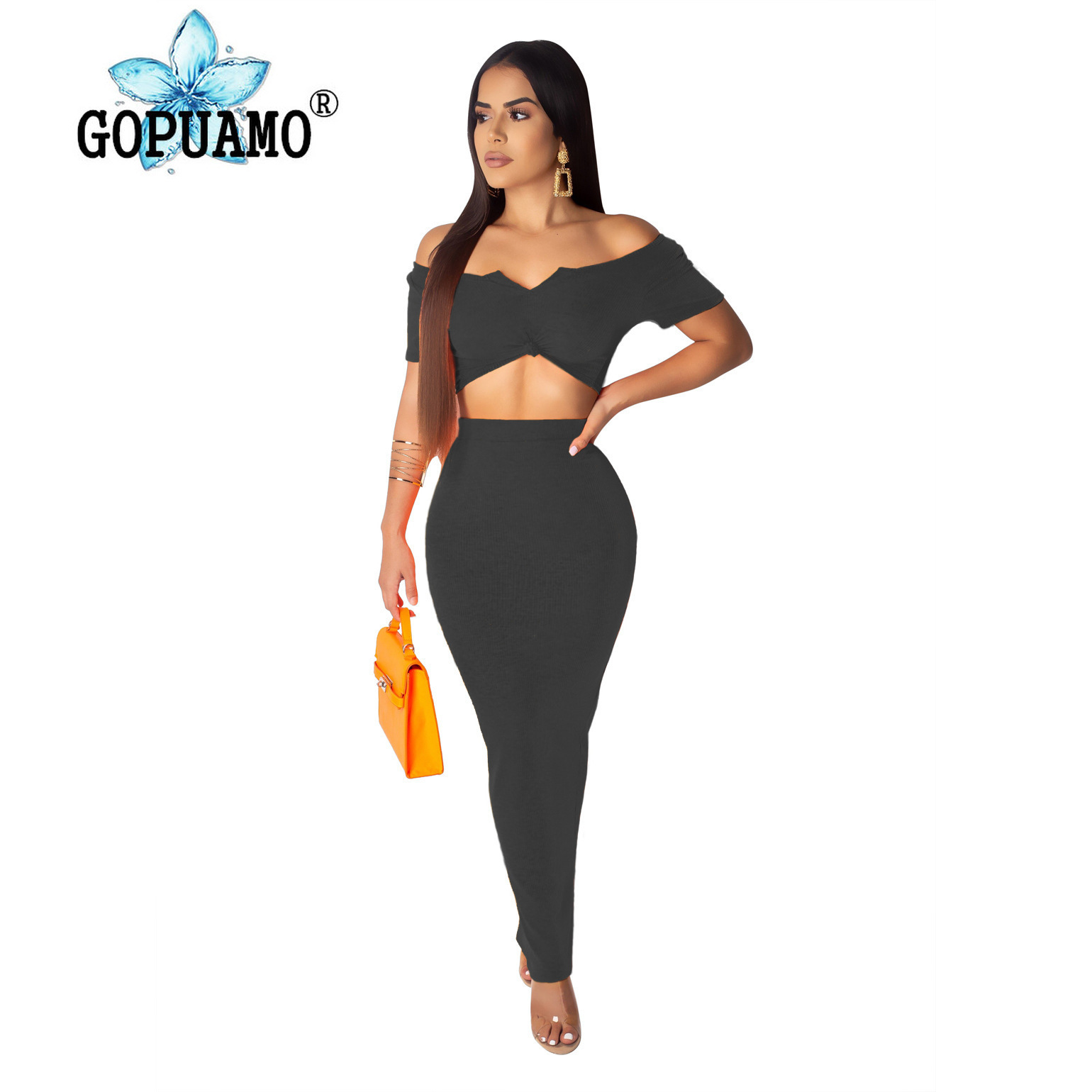 Women Knitted Two Piece Outfit Summer Clothes For Women Slash Neck Short Sleeve Crop Top And Back Split Maxi Skirts 2 Piece Set