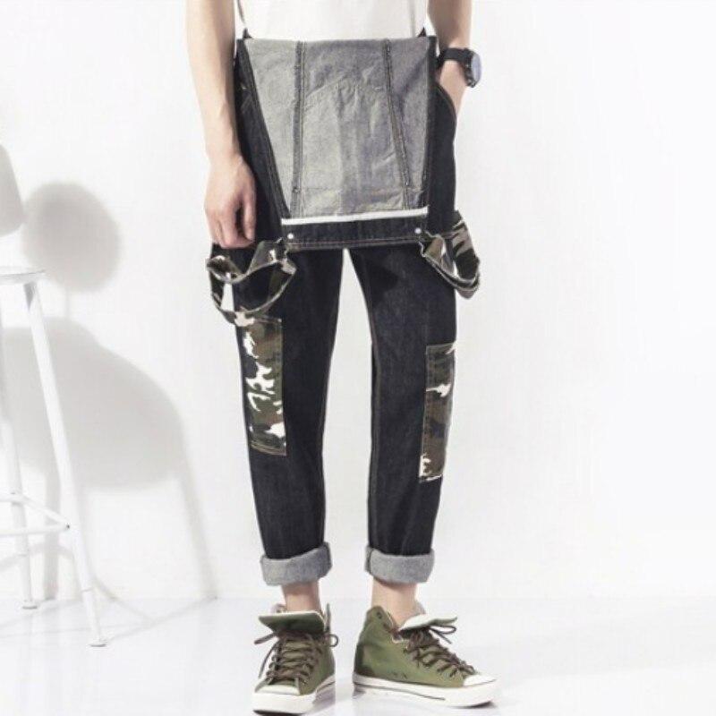 Fashion Slim Fit Pencil Pants Camo Patchwork Mens Jumpsuits Suspender Denim Hombre Trousers Casual Washed Full Length Jeans