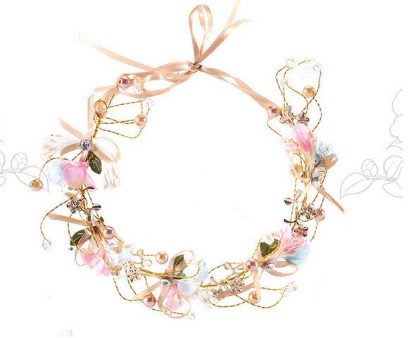 10PCS/lot handmade pearl rhinestone headbands bride bridesmaid floral headwear