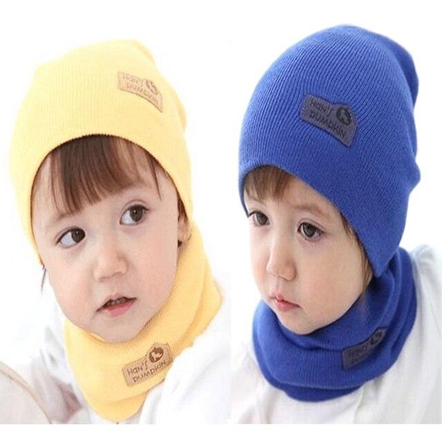 239a3b4c080a3 Chapéu do bebê menina e menino crianças inverno cachecol e touca conjunto  de duas peças carta