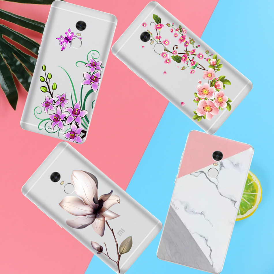 Peach blossom Lotus leaf case For <font><b>xiaomi</b></font> <font><b>Redmi</b></font> 3 3S 4A <font><b>4X</b></font> 4 4S Note 3 Note 4 Note <font><b>4X</b></font> cover