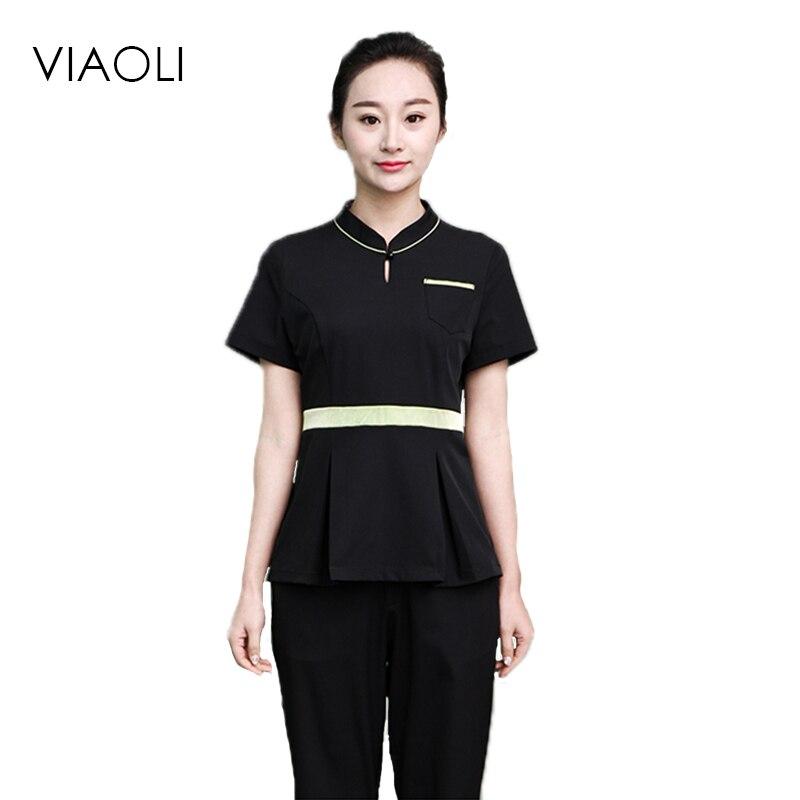 Viaoli 2017SPA health club uniforms foot bath technician service in the sleeve beauty salon uniforms beautician suite