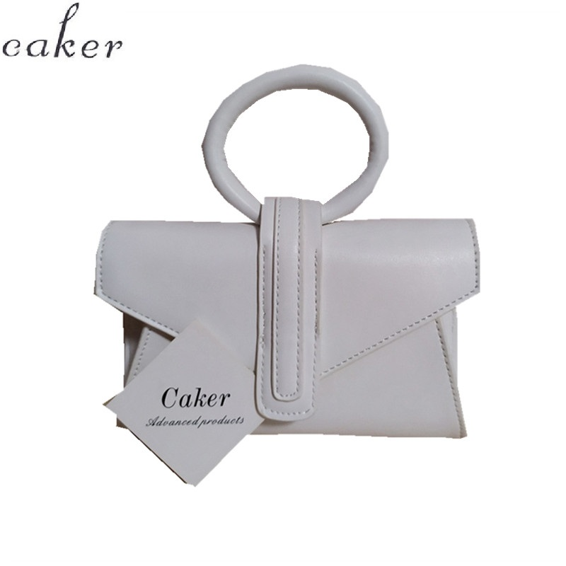 Caker Brand Red Pu Leather Waist Pack Fashion Circle Ring Handbags White Waist Bags Wholesale Dropshipping