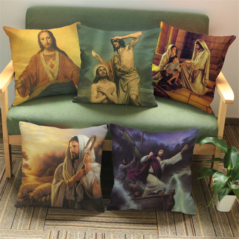 God loves pepole of world Christian Style Jesus Cushion Cover for Sofa Home room Decorative Throw Pillow Cover gift Religious