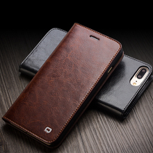 QIALINO Case for iPhone 7 Handmade Genuine Leather Wallet Case for iphone 7 plus luxury Ultra Slim Flip Cover 4.7/5.5 holster