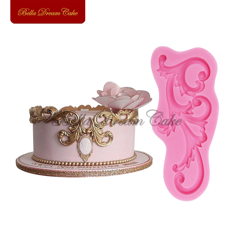 Details about  /Baroque Relief Border Silicone Molds Feather Rose Fondant Cake Decorating Tools