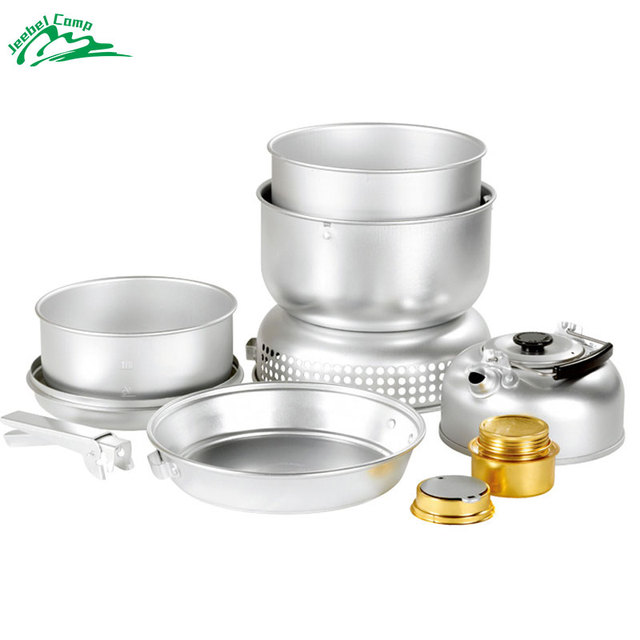 Windproof Alcohol Stove 10 pcs/set Backpack Tableware Outdoor Cookware Pot Picnic Burners Teapot Camping Kettle Wind Screen