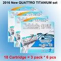 18 cartuchos/lote 2016 Nova Embalagem Original Genuíno Quattro Titanium substituição confortável Manual de lâmina de barbear man masculino