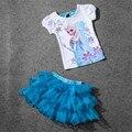 2017 Muchachas de La Princesa Elsa Juegos Del Bebé Sistemas de la Ropa Niños Arco Floral Cabritos Del Verano Camisetas de Manga Corta Camiseta + Tutu Trajes de falda