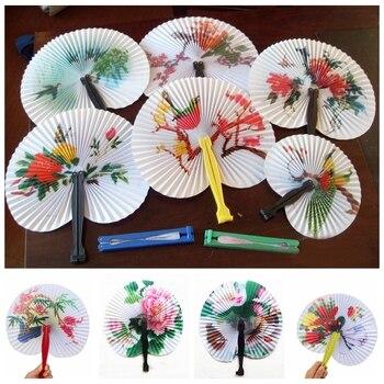 6 pz/lotto Cinese di Carta Pieghevole Ventilatore della Mano Oriental Floral Ventole Operato Del Partito Favori di Nozze Regalo Complementi Arredo Casa Modello Casuale ZXY9539
