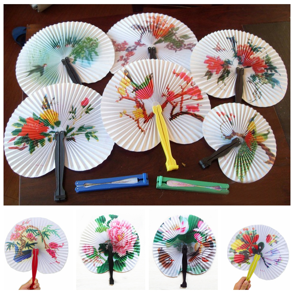 6pcs/lot Chinese Paper Folding Hand Fan Oriental Floral Fancy Fans Party Wedding Favors Gift Home Decor Pattern Random ZXY9539