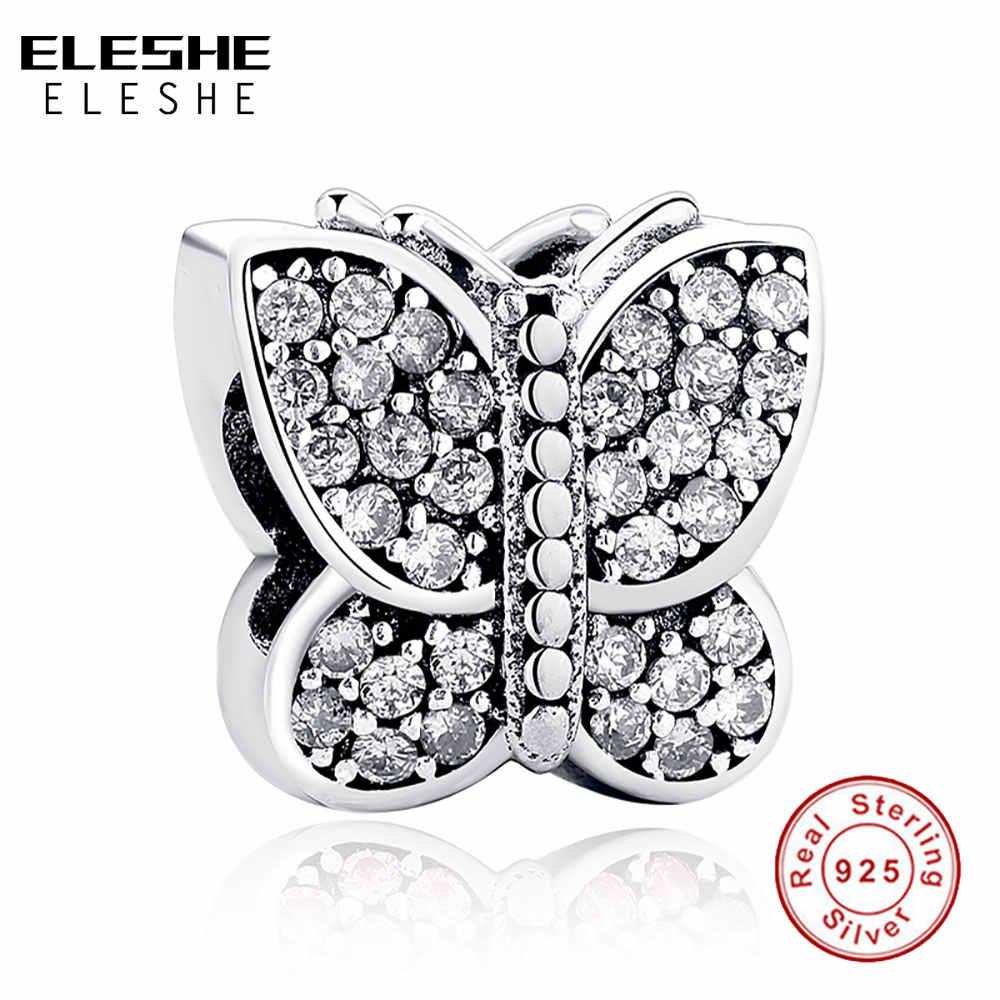 ELESHE נוצץ קריסטל & נקה CZ פרפר קסמי 925 כסף סטרלינג חרוזים Fit ELESHE קסם צמידי & שרשרת DIY תכשיטים