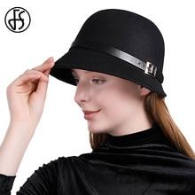 e1f34fffcf3ee FS Cashmere British Style Fedora Hat For Woman Elegant Wide Brim Round Hats  Lady Vintage Church Felt Cap With Leather Belt