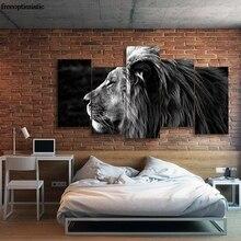 5 Panels HD Printed Black Lion Painting Canvas Print Room font b decor b font print
