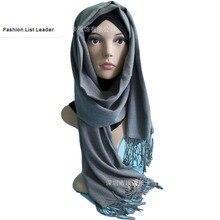 2018 Islamic Adult Promotion Fashion Muslim Black Rhinestone fake woolen Headscarf Hijab muslim islamic Beading Hijab Wj1121