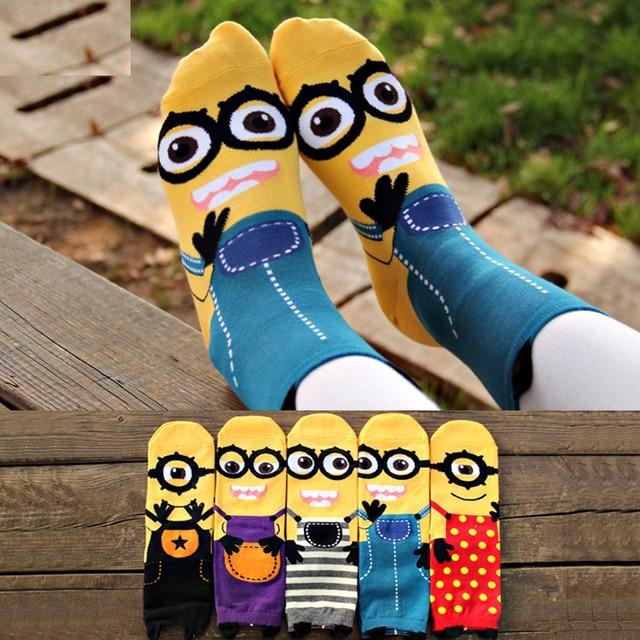 63eb16e0d01 Women Minion Socks cartoon sox summer South Korean style Fashion Cotton  Printing Tube Socks floor meias Socks