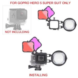 Image 3 - Filtro de corrección de Color Magenta rojo con lente Macro 16X para Gopro Hero 7 6 5 funda carcasa negra submarina juego de filtros para lentes
