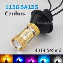 2x S25 1156 BA15S Canbus Dual Farbe 54SMD 4014 Led Weiß/Ice blau/Rosa & Bernstein Lampen Vordere Abbiegelicht Signal DRL Fehler Kostenlose