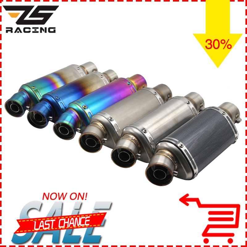 ZS Racing 51mm Motorcycle Akrapovic Yoshimura Exhaust Pipe With DB killer Escape Moto CBR125 CB400 YZF R1 R6 R15 GXSR Z750