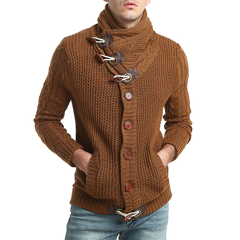 Mens sweaters 2018 Male Casual Slim Cardigan Sweaters Men Horns Buckle Thick Turtleneck Sweater Plus size 3XL cardigan hombr