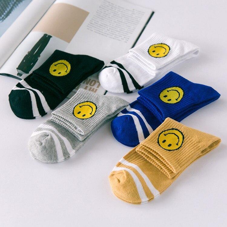 The New Cotton Smiley Striped Socks Men And Women Socks