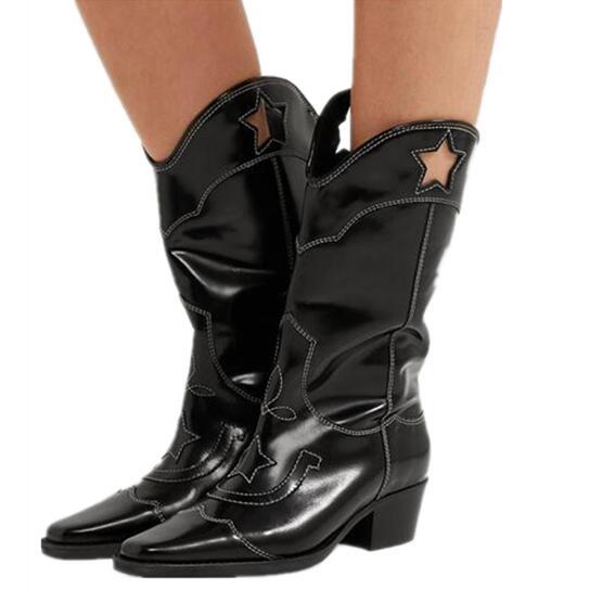 Рыцарские сапоги в западном стиле с вырезами и вышивкой; черные женские сапоги до колена из натуральной кожи с квадратным носком; ботинки ср... - 3