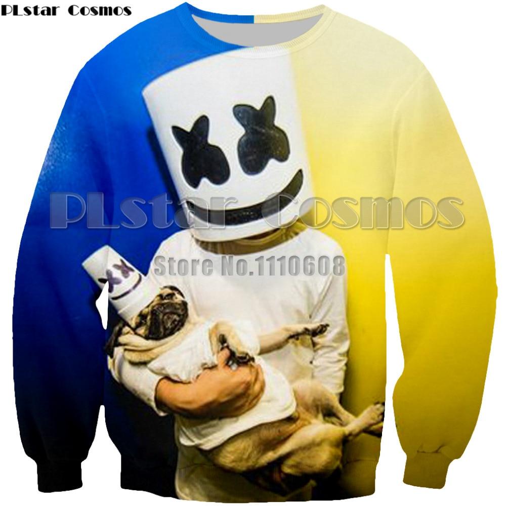 PLstar Cosmos Brand hoodies swearshirt Men/women 3d Print DJ singer Marshmello Pullover Tops Hoody