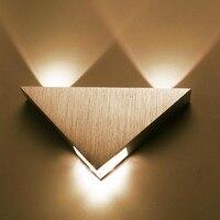 AC85-265V Modern Triângulo de Alumínio 3 W led lâmpada de parede Para bar KTV corredor Casa de iluminação interior e decoração ao ar livre luz DA