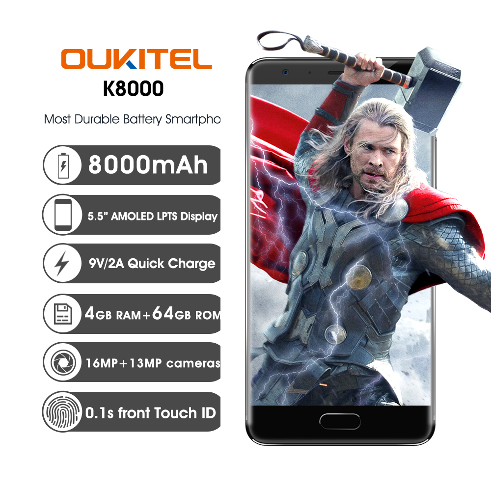 Oukitel K8000 5 5Inch 8000mAh Big battery Android Smartphone MT6750T Octa Core 4GB 64GB 13MP Fingerprint