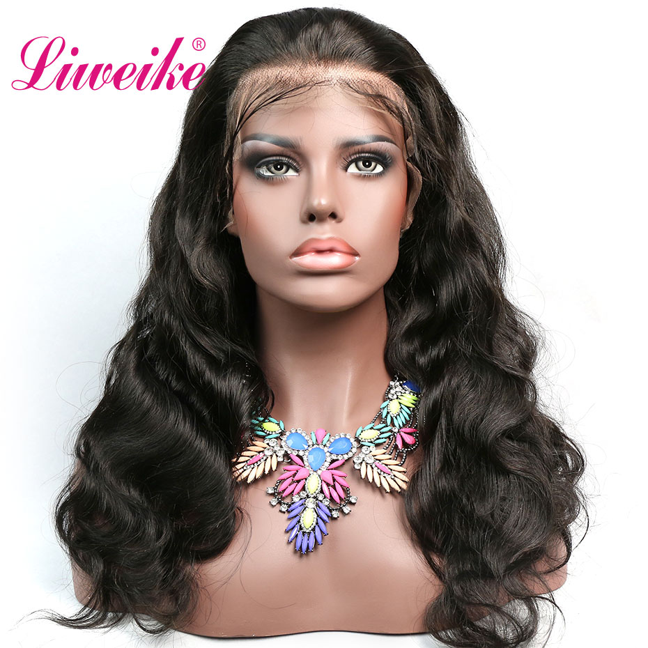 Liweike Brazilian Body Wave 13 4 Lace Front Human Hair Wigs Full Ends 1B Lace Frontal