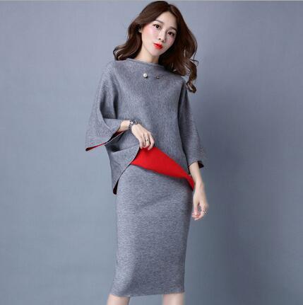 Осень Зима для женщин OL вязать 2 шт. комплект платье элегантные костюмы
