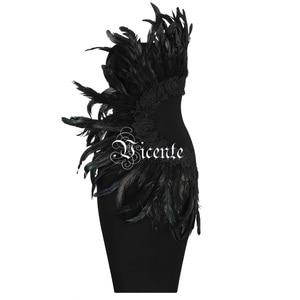 Image 2 - VC 2020 New Trendy Elegant Feather Design Sexy Strapless Backless Sleeveless Celebrity Party Club Bandage Mini Dress