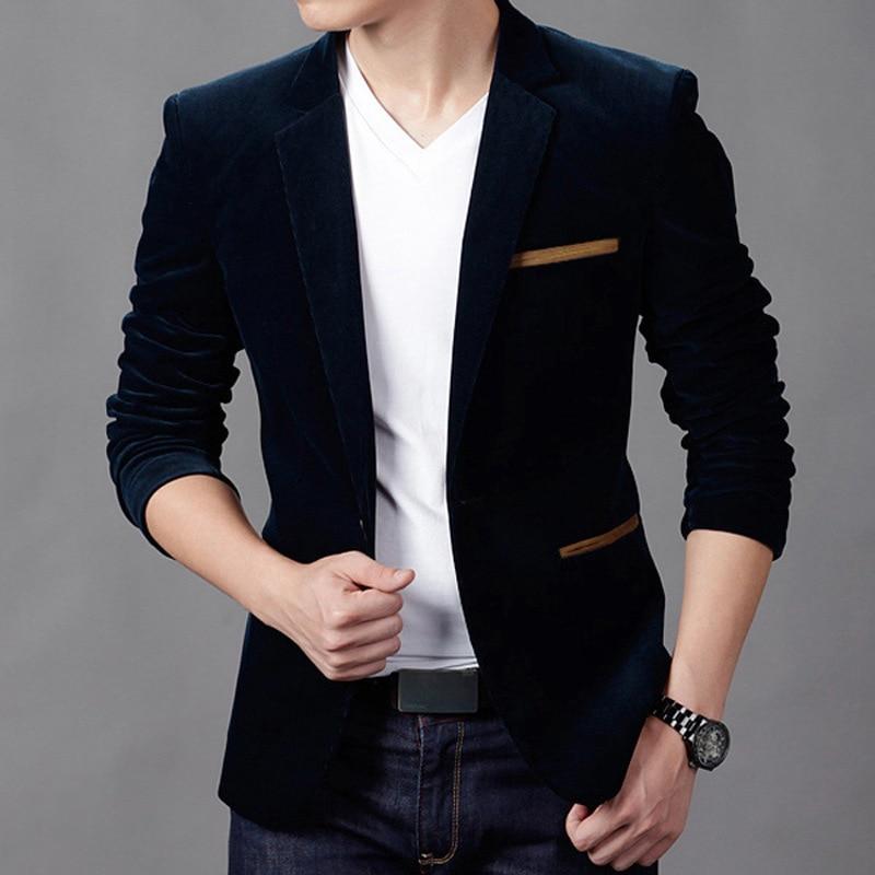 Brand Clothing Men Blazer Fashion Cotton Suit Blazer Slim Fit Masculine Blazer Casual Solid Colr Male Suits Jacket