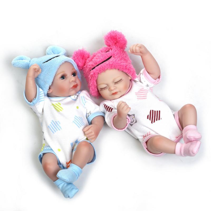 26 CM reborn bébés poupées plein silicone corps Mini mignon bain petite poupée jumeaux bébé