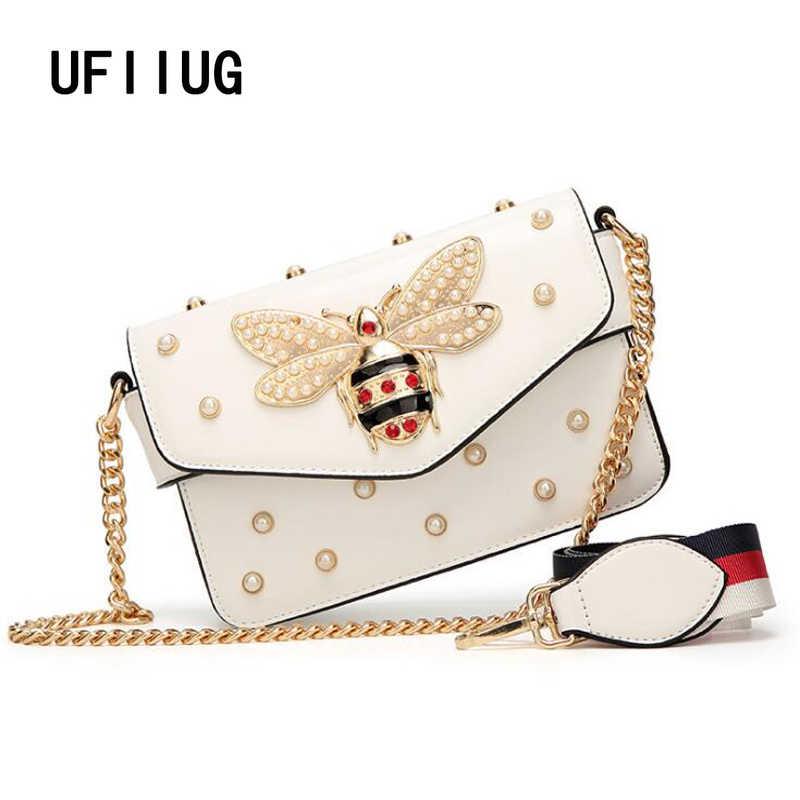 Nowy znane marki kobiety messenger torby czarny mały torba typu crossbody z łańcuchem kobiet luksusowa torba na ramię pearl torebka 2019 czerwony biały