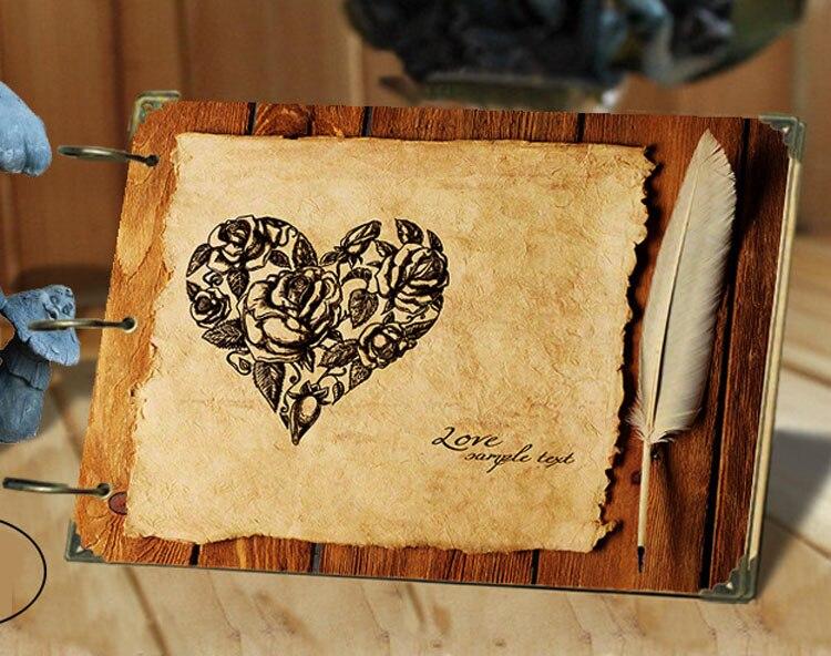 Retro Love DIY Photo Album Wedding Scrapbooking Creative Gift Travel Baby Scrapbook Loose-leaf Handmade Craft 10 Inch Free Ship