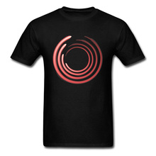 Tshirt Man Abstract Art Design T-shirt Red Concentric Circles Round Collar T Shirts NEW YEAR DAY Custom Pure Cotton Tops Tees цена