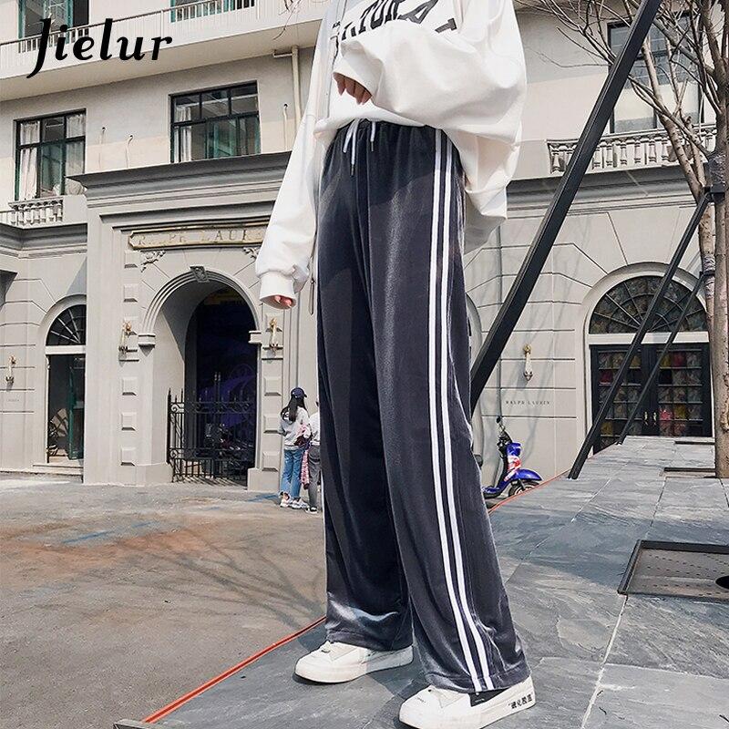 Jielur Summer Gold Velvet Thin Women's Trousers Korean Loose Casual   Wide     Leg     Pants   Female Fashion Side Stripes Sweatpants M-XXL