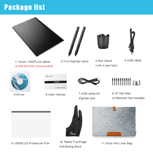 """Image 5 - 2 Pens Huion  New 1060 Plus Graphic Drawing Digital Tablet w/ 8G SD Card 12 Express Key+Protective Film +15"""" Liner Bag+Glove"""