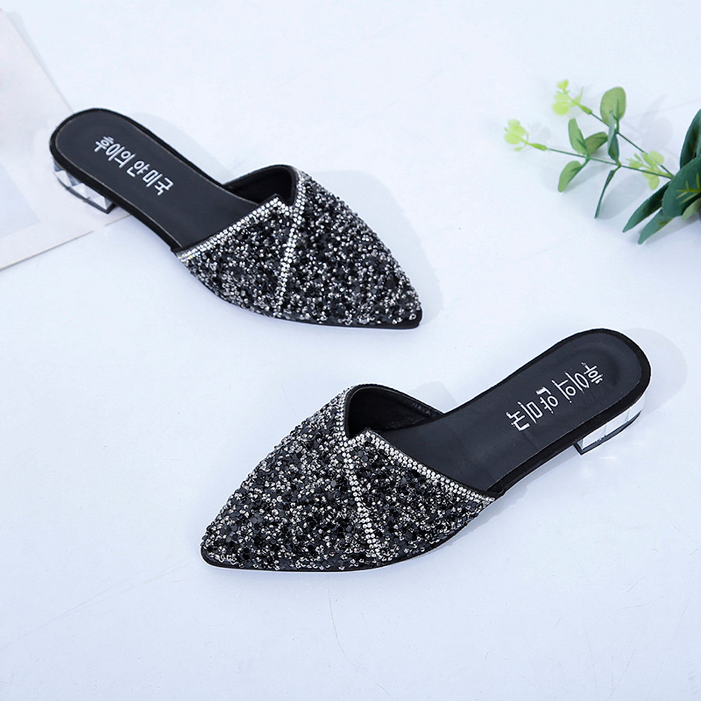 SAGACE Summer Slippers Female Pointed Heel Square Casual Shoes Bling Low Heel Slippers Female Casual Flat Slippers 2019
