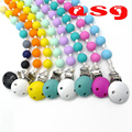New DIY Silicone Teething pacifier Clips with Food Grade Silicone chew Round Beads Silicone Pacifier Clip Toys For Baby Chew 1PC