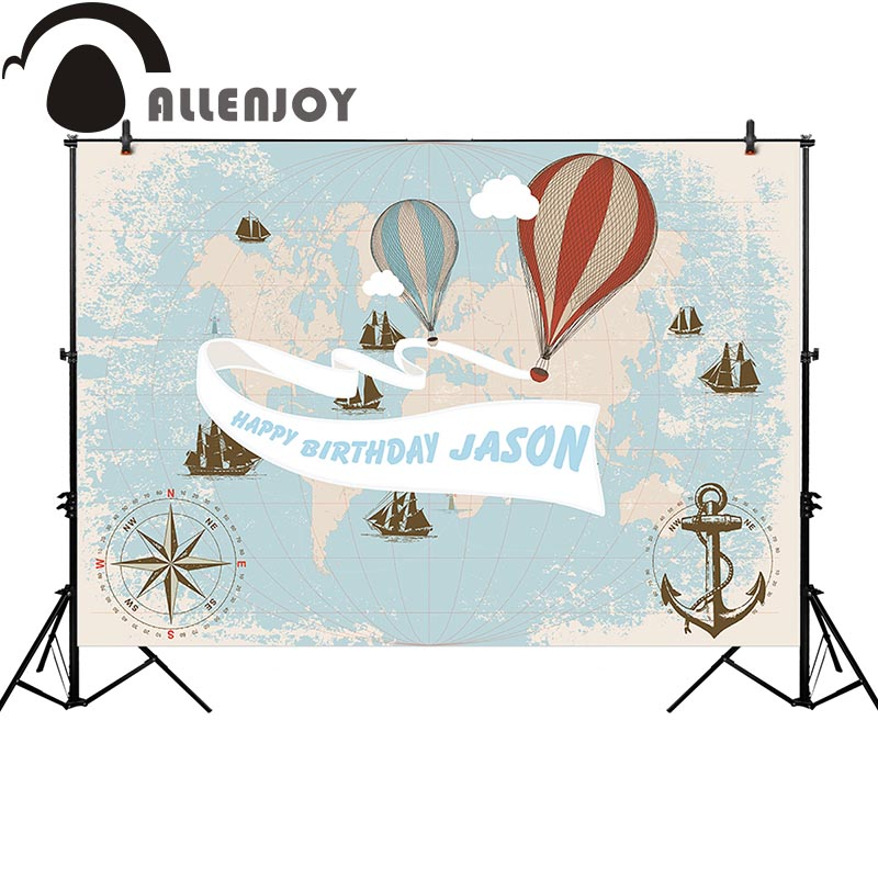 Allenjoy photography backdrop travel theme birthday hot air balloon anchor background photobooth photo prop customize allenjoy photo backdrop stars independence day stripes celebration fantasy props for newborn photobooth backdrop