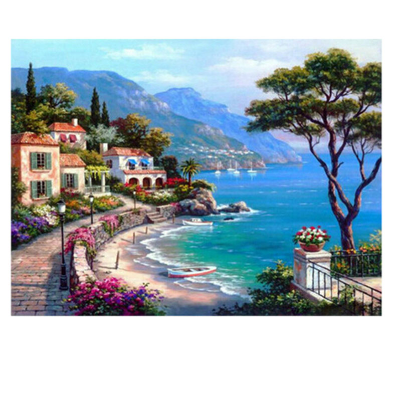 Free mailing 3d Diamond Painting Full Whole for Square Drill Mosaic Embroidery Cross Stitch About Beautiful Seaside Town Trees