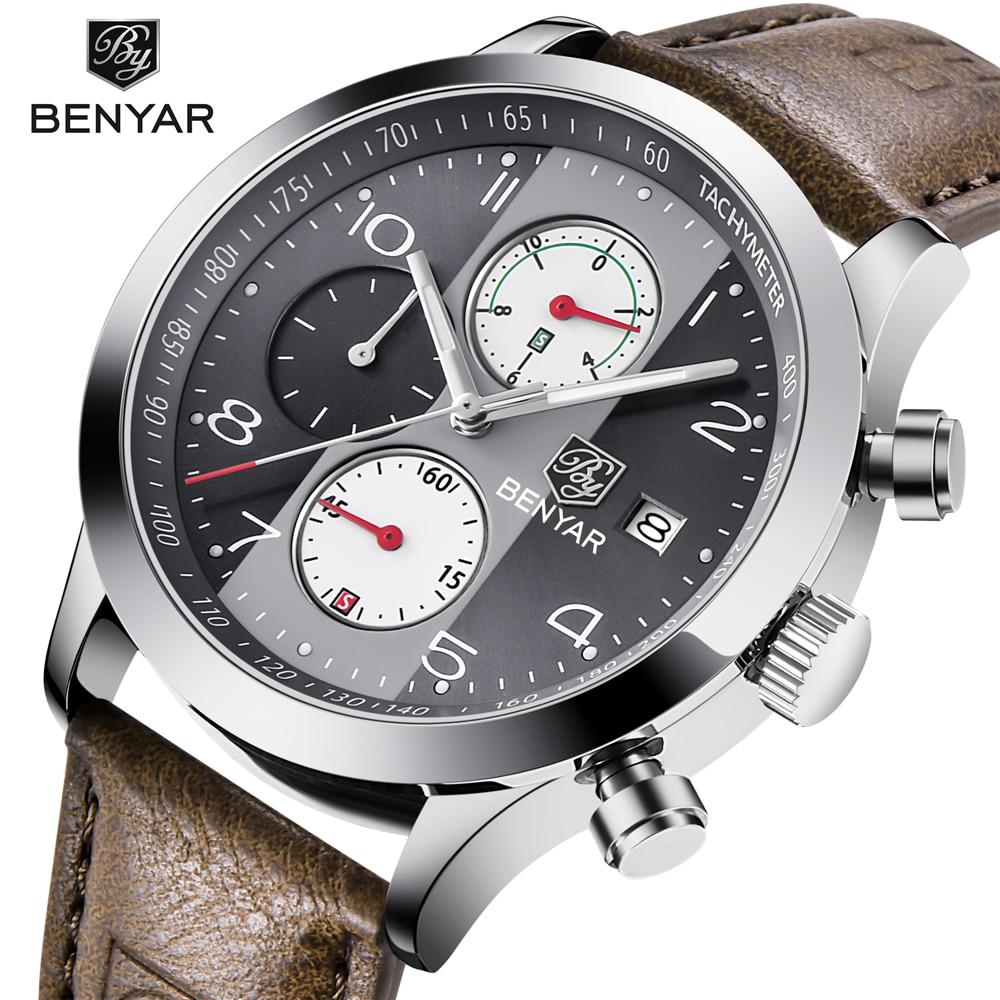 BENYAR Sport Men Watch Quartz Wristwatch Stainless Steel Waterproof Wrist Army Military Clock Male Relogio Masculino Hodinky